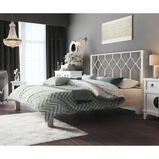 Honeycomb Motif Designs White Metal Headboard and Aura White Platform Bed