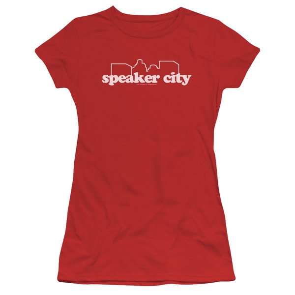 Old School/Speaker City Logo Junior Sheer in Red