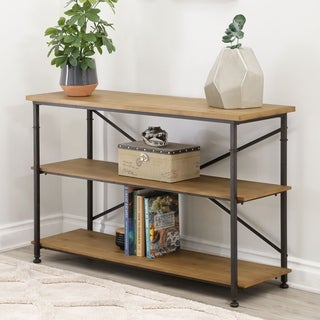 ABBYSON LIVING Distressed Black Finish Wood/Metal Dutch Industrial TV Stand