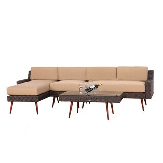 BroyerK Brown Rattan 4-piece Patio Furniture Set