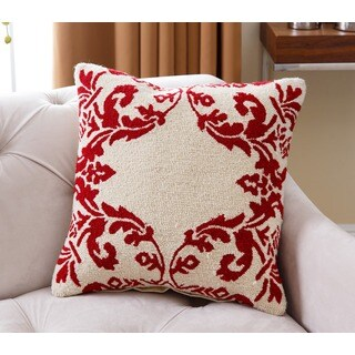 Abbyson Living Noel Holiday Red/White New Zealand Wool Polyester-filled 20-inch Throw Pillow