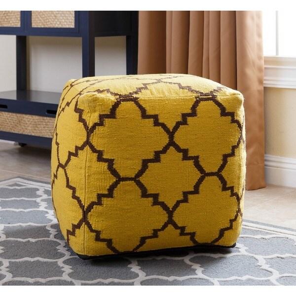 ABBYSON LIVING Natalie Yellow Wool 18-inch Lattice-print Square Pouf