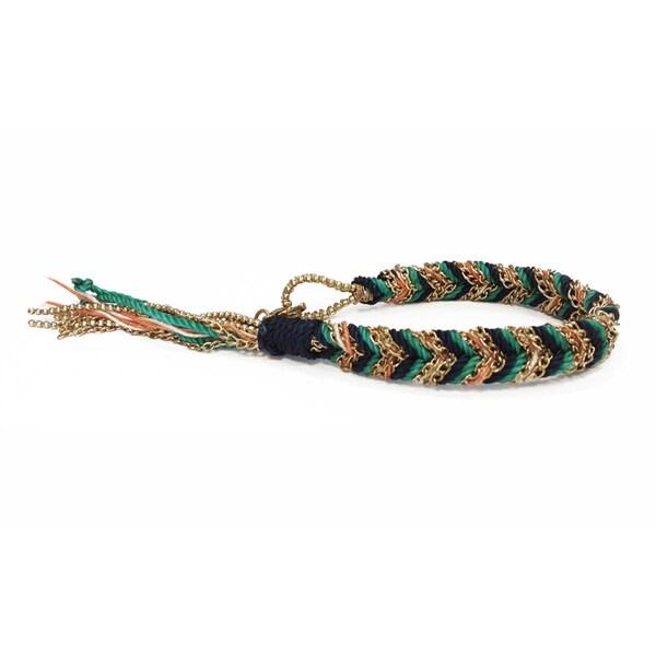 Teal Braided Tassel Bracelet