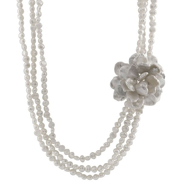 Sterling Silver Pearl Triple Strand Flower Necklace
