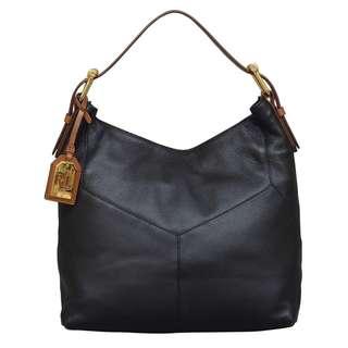 Ralph Lauren Landrey Zip Top Black Hobo Handbag