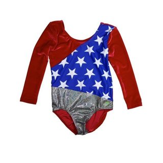 USA Win Girls' 3/4 Sleeve Red Stretch Velvet Leotard