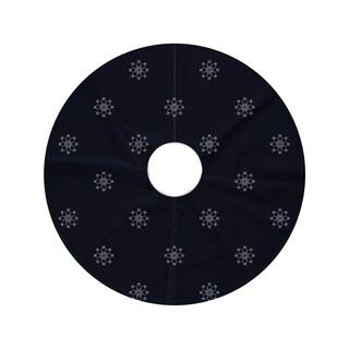 44-inch Round Falling Snow Decorative Holiday Geometric Print Tree Skirt