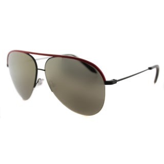 Victoria Beckham VBS 90 C14 Classic Victoria Red Leather Black Metal Aviator Gold Mirror Zeiss Lens Sunglasses