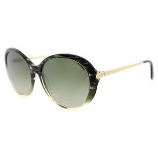 Victoria Beckham VBS 112 C10 Fine Oval Acetate Olive Scale Plastic Cat-Eye Green Gradient Zeiss Lens Sunglasses