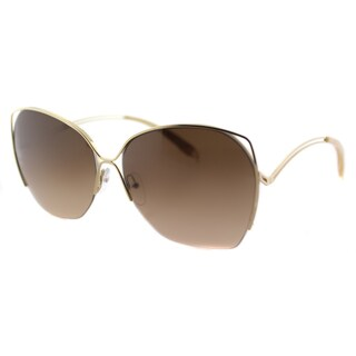 Victoria Beckham VBS 96 C09 Fine Wave White Gold Metal Square Brown Gradient Zeiss Lens Sunglasses