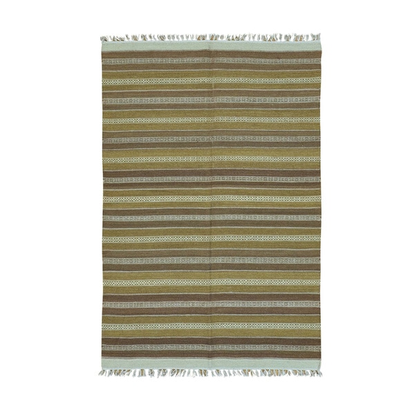 Handwoven Multicolored Wool Striped Durie Kilim Rug