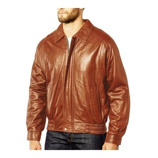Men's Cognac Leather Fully Lined Zipper-front Bomber Jacket