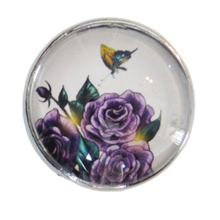 Purple Flowers Glass Drawer/ Door/ Cabinet Pull Knob with Chrome Base (Pack of 6)