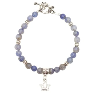 Healing Stones for You Iolite Bracelet with Lotus Charm