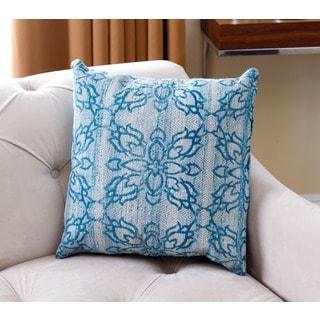 Abbyson Living Amber Lattice Blue/Aqua New Zealand Wool Polyester-filled Throw Pillow