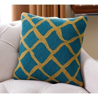 Abbyson Living Carrie Blue/Green New Zealand Wool 20-inch x 20-inch Polyester-filled Lattice Throw Pillow
