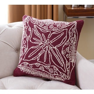 Abbyson Living Maui Floral Purple/Off-white New Zealand Wool 20-inch Polyester Filled Throw Pillow