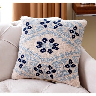 Abbyson Living Katelyn Blue and Off-white Polyester-filled New Zealand Wool 20-inch Throw Pillow