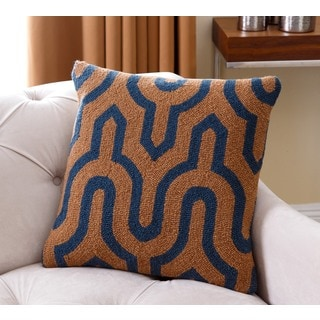Abbyson Living Smith Blue and Brown Lattice New Zealand Wool Polyester-filled 20-inch Throw Pillow