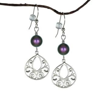 Jewelry by Dawn Iridescent Purple Fancy Filigree Teardrop Sterling Silver Earrings