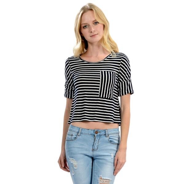 Women's Stripe Pocket Roll Sleeve Top