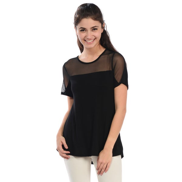 Women's Mesh Yoke Top