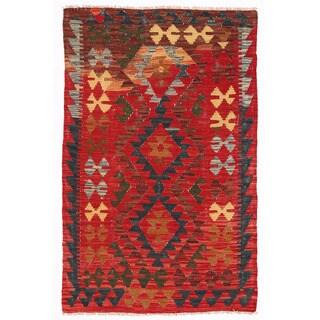 Herat Oriental Afghan Hand-woven Mimana Kilim Red/ Brown Wool Rug (3' x 4'11)