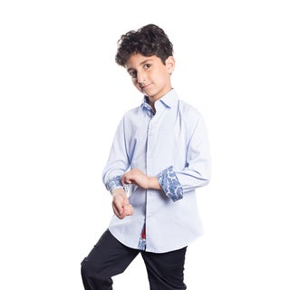 Boys' Elie Balleh Milano Italy Textured Paisley Cuff Slim Fit Shirt