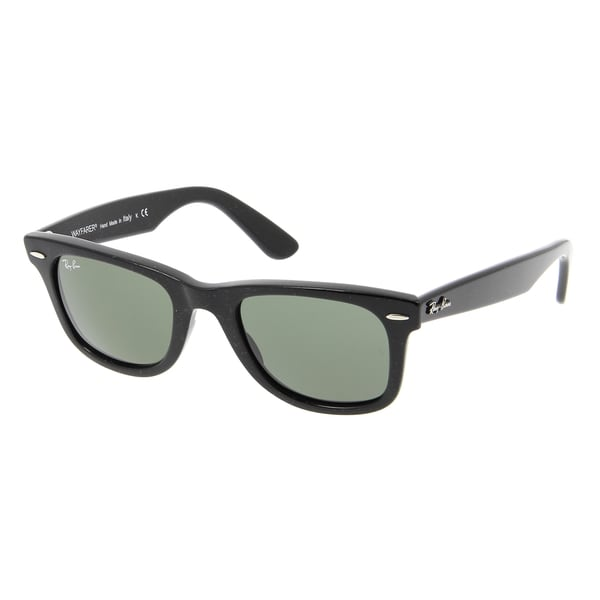 Ray-Ban RB2140 1184 Original Wayfarer Distressed Black Frame Green Classic 50mm Lens Sunglasses