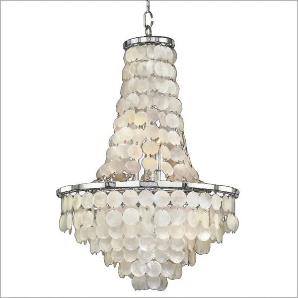 Timeless 9-Light Chrome Capiz Chandelier