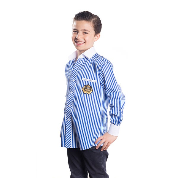 Elie Balleh Boy's Milano Italy Blue Cotton Striped Crown Slim-fit Shirt
