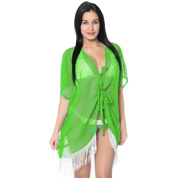 La Leela Chiffon LightWeight Kaftan Swimsuit Robe Beach Kimono Bikini Cover up Green