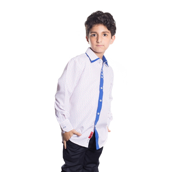 Elie Balleh Milano Italy Boys' Multi-dot Blue Trim Slim Fit Shirt