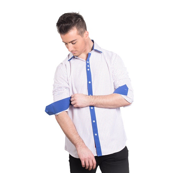 Elie Balleh Milano Italy Men's Red/Blue Polyester/Rayon Slim-fit Shirt