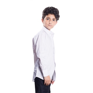 Elie Balleh Milano Italy Boy's White Cotton Collared Slim-fit Shirt