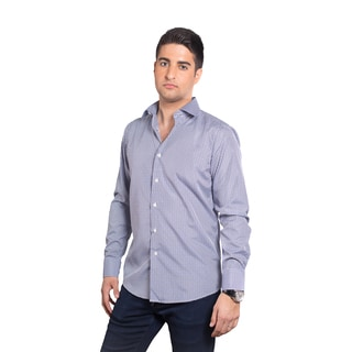 Elie Balleh Milano Italy Men's Blue Small Plaid Slim-fit T-shirt