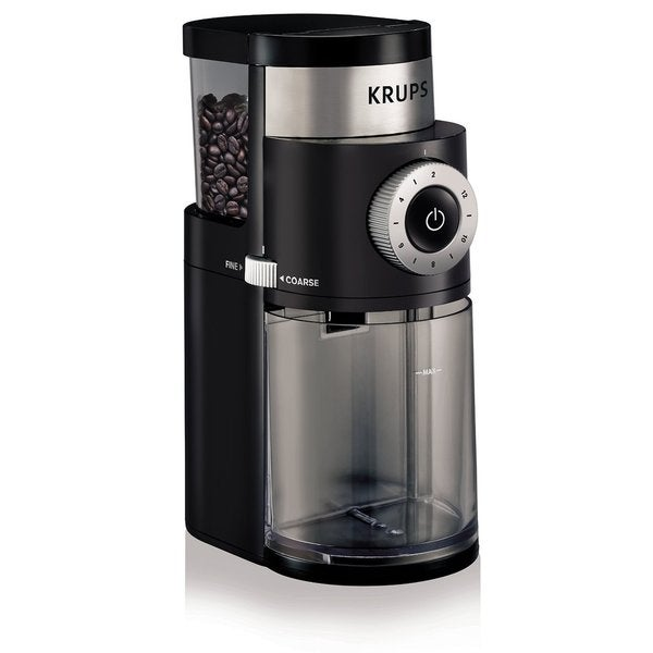 Krups GX5000 Black Stainless Steel/Plastic 7-ounce Professional Electric Coffee Burr Grinder With Grind Size and Cup Selection 18908600
