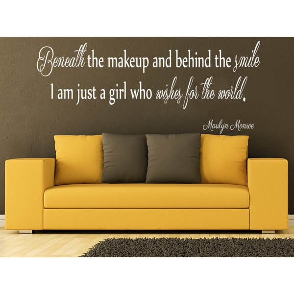 Quote Marilyn Monroe Beneath the makeup and behind the smile Wall Art Sticker Decal White