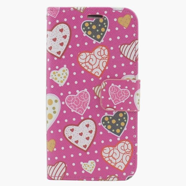 Insten Pink Hearts Leather Case Cover with Stand/ Wallet Flap Pouch/ Photo Display For Apple iPhone 6 Plus/ 6s Plus