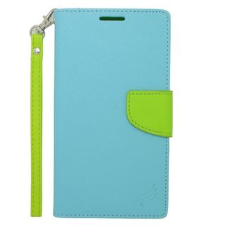 Insten Light Blue/ Green Leather Case Cover Lanyard with Stand/ Wallet Flap Pouch/ Photo Display For LG G VISTA