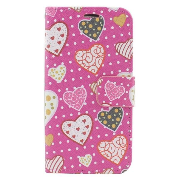 Insten Pink Hearts Leather Case Cover with Stand/ Wallet Flap Pouch/ Photo Display For Apple iPhone 6/ 6s