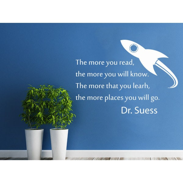 Quotes The more you read the more you will know Wall Art Sticker Decal White