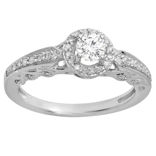 14k Gold 1/2ct TDW Round White Diamond Halo Style Bridal Engagement Ring (I-J, I1-I2)
