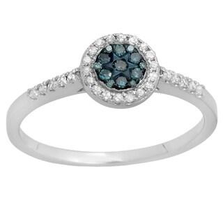 10k Gold 1/4ct TDW Round White and Blue Diamond Cluster Style Bridal Engagement Ring (I-J, I2-I3)