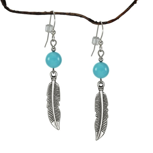Jewelry by Dawn Crystal Blue Turquoise With Curved Pewter Feather Earrings