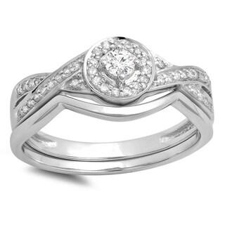 10K Gold 1/3 ct. Round White Diamond Ladies Bridal Halo Split Shank Engagement Ring Set (H-I, I1-I2)