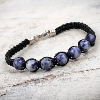 Handcrafted Silver Leather 'Peace' Sodalite Bracelet (Peru)