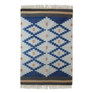 Handcrafted Wool 'Blue Light' Dhurrie Rug 4x6 (India)