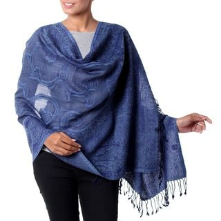 Handcrafted Wool 'Glorious Blue' Jamawar Shawl (India)