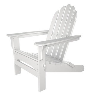 Tiba White Finish Wood Adirondack Folding Chair